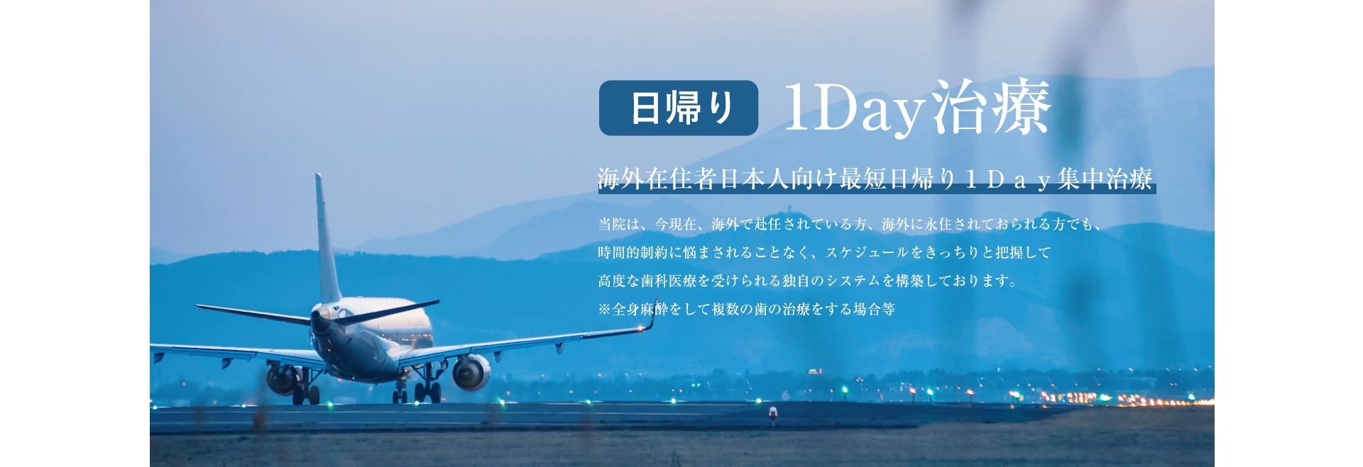 日帰り1Day治療 海外在住者日本人向け最短日帰り1Day集中治療
